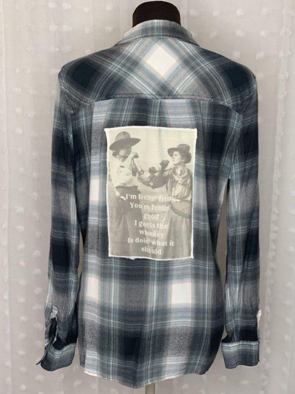 black white plaid flannel womens shirt whiskey