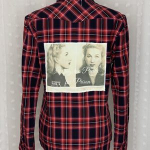 red and black womens plaid flannel shirt with vintage mug shot too pretty for prison