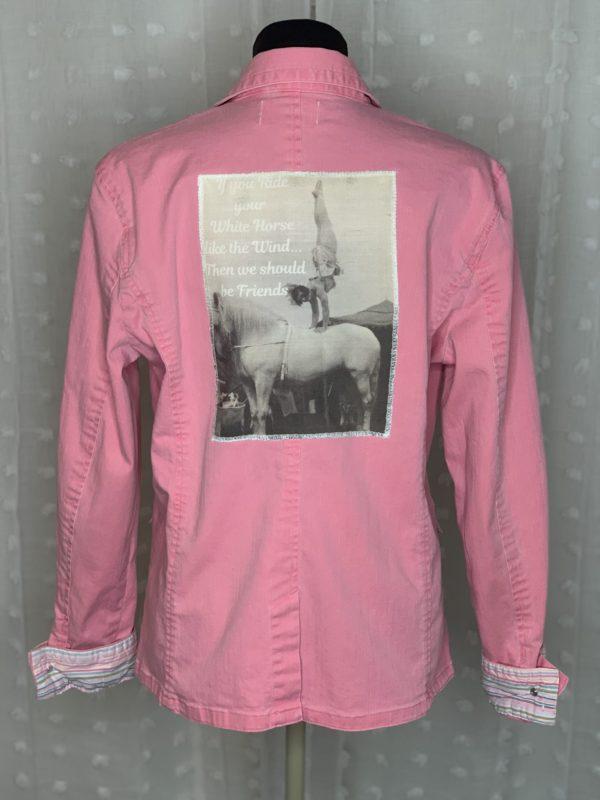 pink womens denim blazer white horse