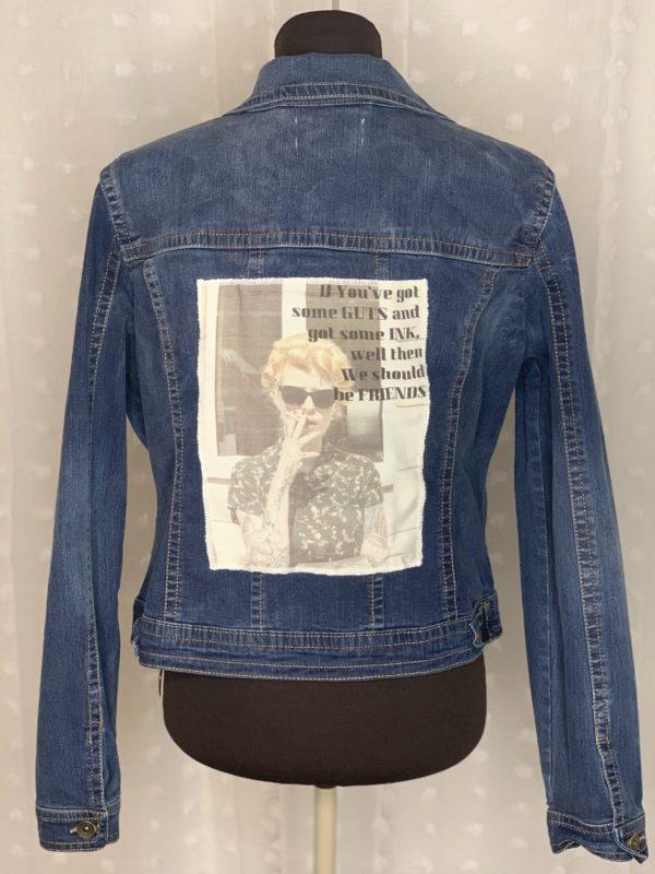 dark blue denim womens jacket gots guts and ink