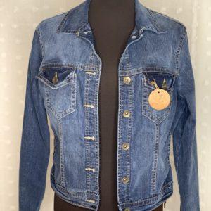 dark blue womens denim jacket got guts and ink