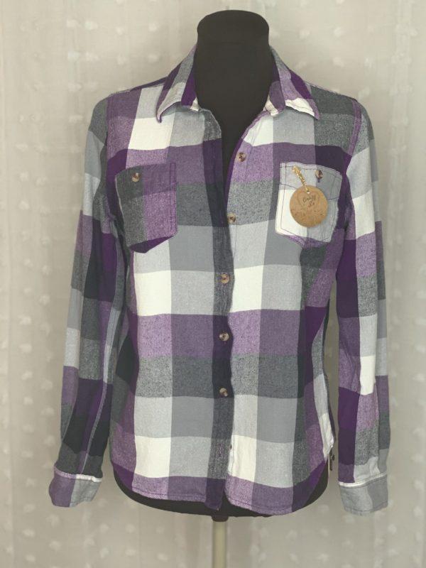 purple white plaid women's flannel shirt I aim to misbehave
