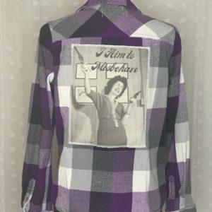 purple white plaid flannel women's shirt I aim to misbehave