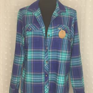 teal navy plaid flannel womens shirt mind your biscuits