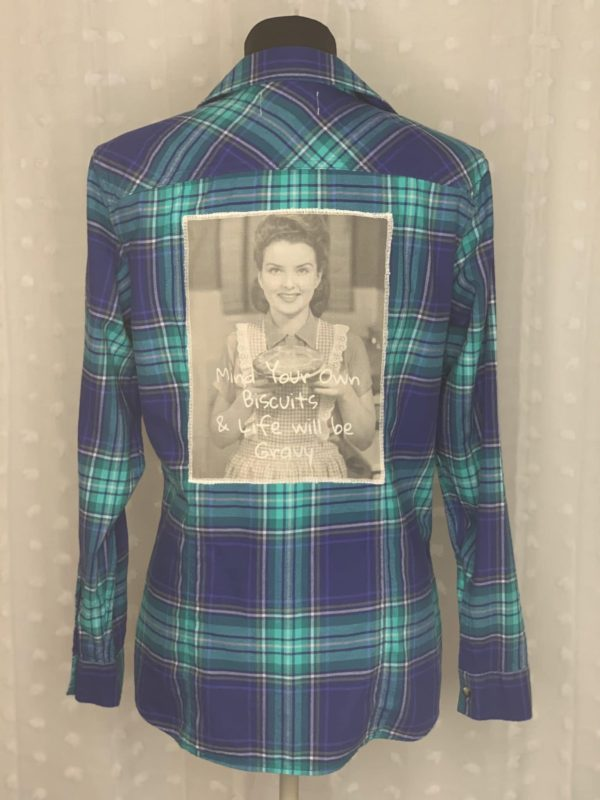 teal navy plaid flannel women's shirt mind your biscuits