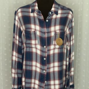 blue white plaid flannel womens shirt love me like the Wild West